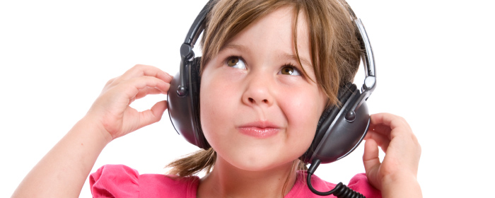 Girl wearing headphones (slide)